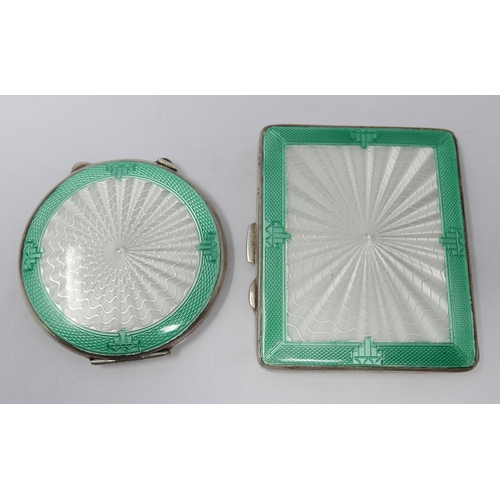 1020 - A matching Art Deco, sterling silver white and mint green guilloche enamelled circular mirror compac...