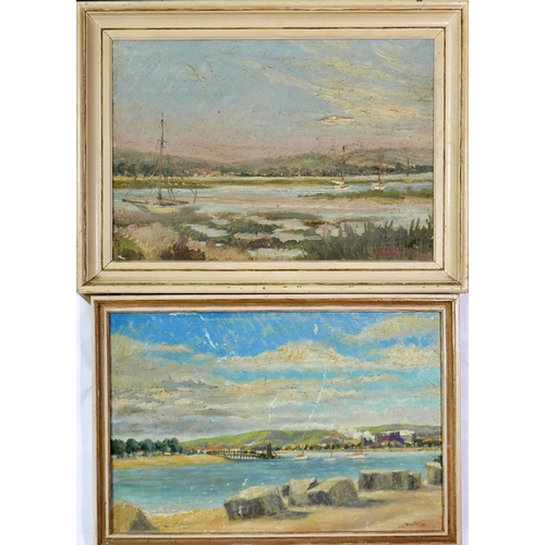 128 - Two 20th century oils on canvas, signed V. Montagu, dated 1955 and 1957...