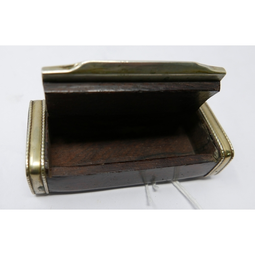 16 - A 19th century rosewood and white metal mounted snuff box, the lid decorated with hunter, stag, hors...