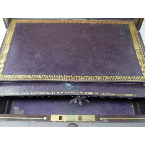 32 - A George IV rosewood vanity box by 'Edwards, Manufacturer to His Majesty, 21 King St. Bloomsbury, Lo...