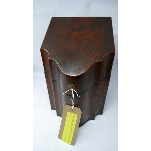 132 - A Georgian inlaid mahogany knife box, later converted to letter box, H.36 W.22 D.27cm...