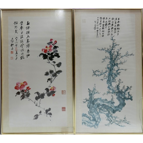 107 - A large pair of 20th century Chinese prints, 96 x 56cm...
