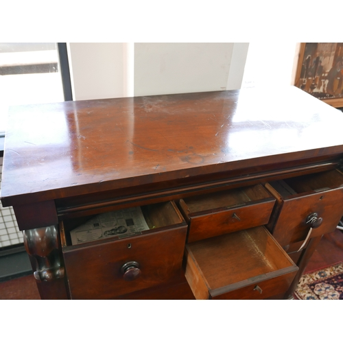 248 - A 19th century Scottish mahogany chest, with secret drawer above four short and three long drawers, ...