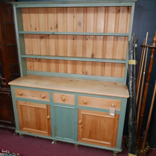 187 - A 1980's Heals part painted pine dresser, H.191 W.153 D.49cm...
