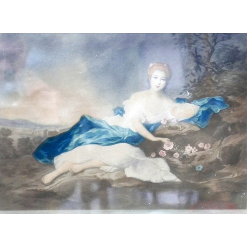 33 - Will Henderson, two coloured mezzotints depicting maidens reclining in forests, signed in pencil to ...