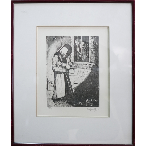 41 - An etching of a prisoner talking to a figure through the bars, signed and numbered 32/45 in pencil t...