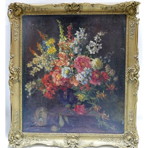 149 - A framed oil on canvas, flowers, signed Josephine Aveline (1914-1990) H.74 W.62cm...