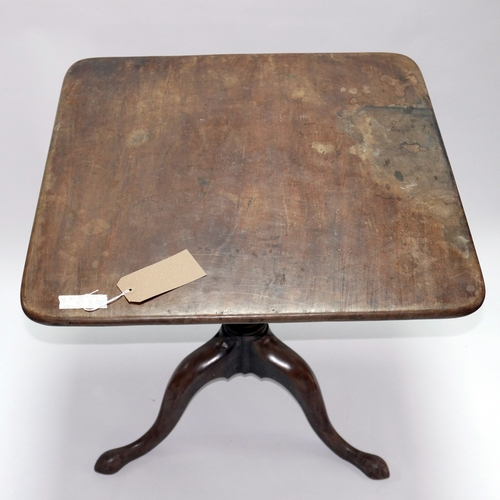 263 - A Georgian mahogany square top occasional table raised on tripod base, H.68 W.68 D.68cm...