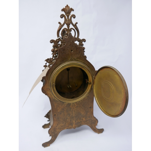 28 - A 20th century French brass mantle clock, H.37cm...