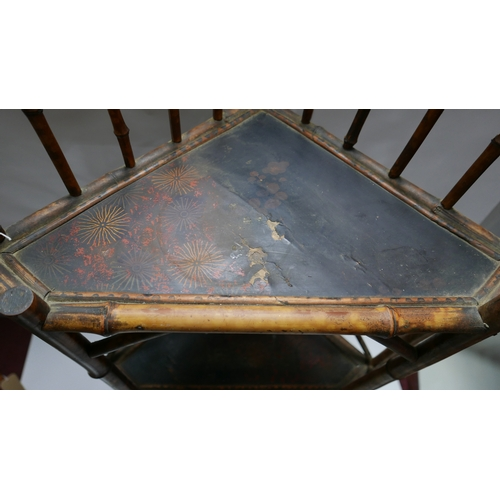 164 - A Victorian bamboo corner whatnot with Chinosserie lacquered shelves, H.140 W.62 D.41cm...