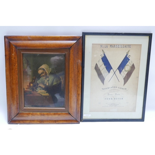 228 - A Victorian print in maple frame together with a 19th century French coloured print...