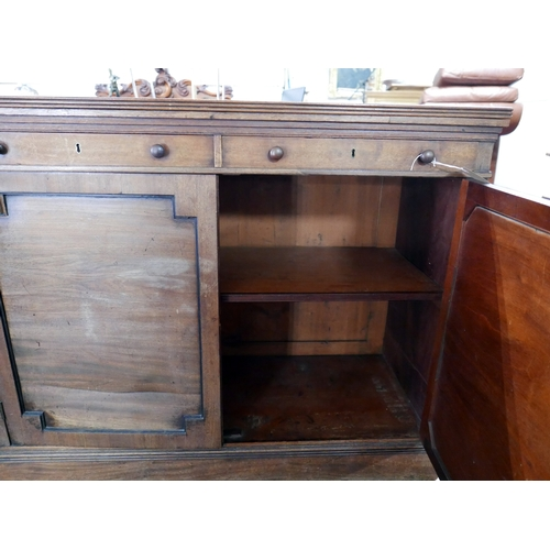 169 - An early 19th century mahogany sideboard, two drawers over two cupboard doors, raised on stepped bas...