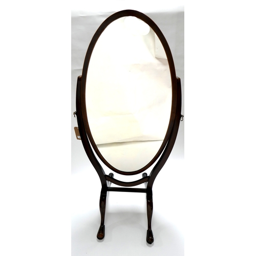 175 - A 19th century mahogany oval cheval mirror, with boxwood inlay, raised on cabriole legs and castors,...