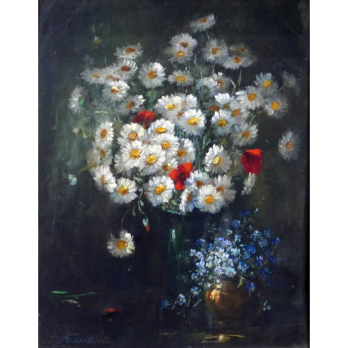 156 - Albert Zamarra (b.1898), Still life of flowers, oil on canvas, signed lower left, 48 x 38cm...