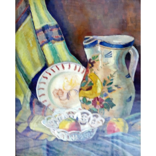 166 - Evert Moll (Dutch, 1878-1955), Still life study of a jug, plate, dish, apples and textile, oil on ca...