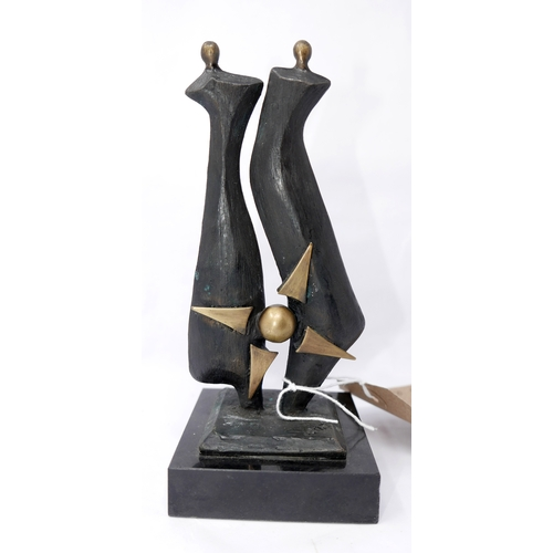 182 - A bronze figural study, 'United We Stand', raised on square marble base, H.19cm...