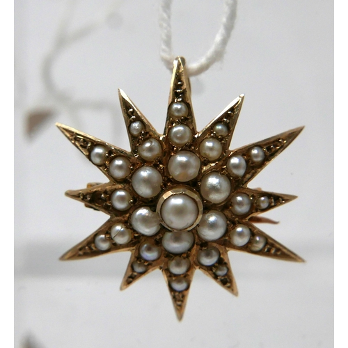 1153 - A 9ct yellow gold, Victorian star-shaped pendant studded with 30 cream coloured pearls, 2.3 x 2.3cm,...