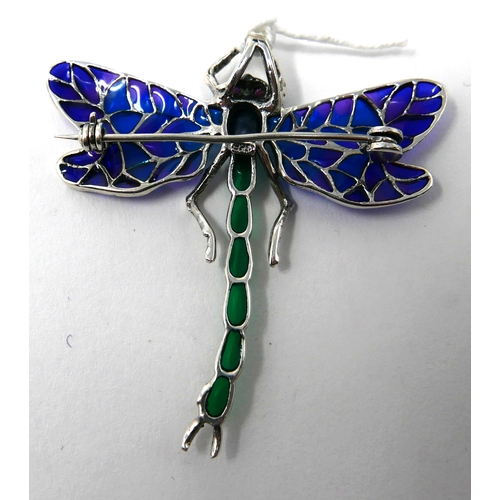 1117 - A large, sterling silver dragonfly pendant/brooch in plique a jour enamel, sapphire cabochon abdomen...