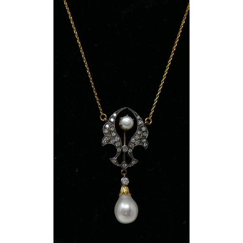 1062 - A boxed yellow gold drop necklace studded with diamonds and set with two white pearls, L: 50cm, 4.3g...