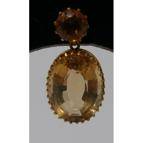 1011 - A pair of 19th century, 18ct yellow gold, faceted citrine drop earrings, each earring set with a rou...
