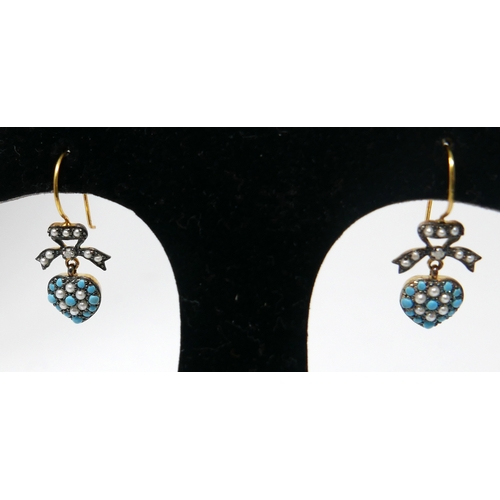 1024 - A pair of antique, yellow gold, diamond, turquoise and pearl studded earrings, each composed of a pe...