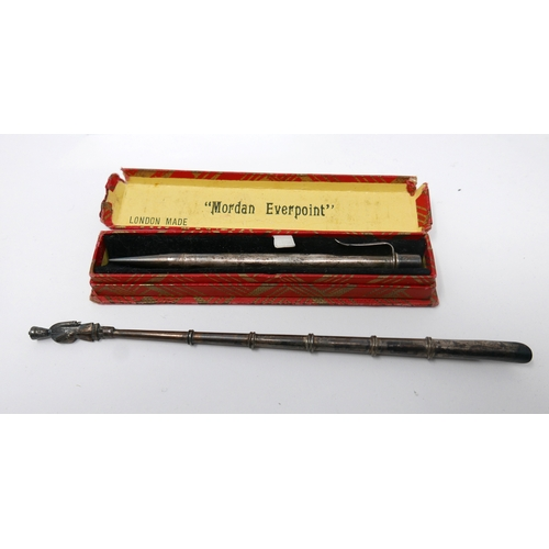 1142 - A boxed Samson and Mordan 'Everpoint' sterling silver propelling pencil 11.5cm, with a Chinese white...
