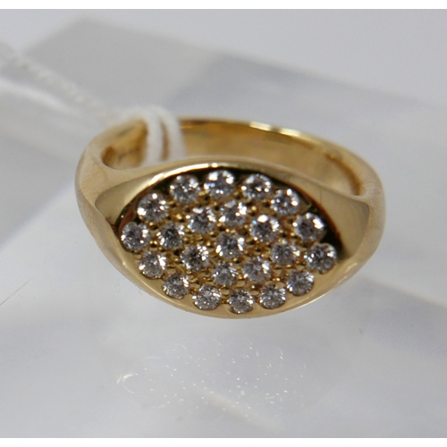 1007 - An 18ct yellow gold Tiffany & Co, diamond ring set with 22 round, brilliant-cut diamonds within an o...