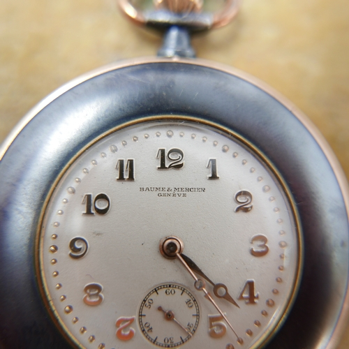 1087 - A Baume & Mercier gun-metal cased open face top-wind pocket watch, dial with gilt Arabic numerals an...