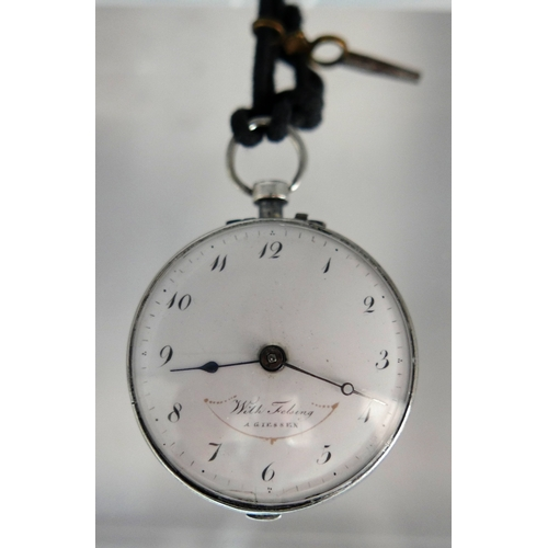 1094 - A silver open faced verge pocket watch, c.1800, the white enamel dial signed 'With Felsing A. Giesse...