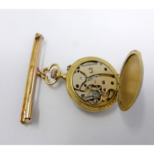 1144 - An 18ct yellow gold LeCoultre fob watch, the gilt dial with Arabic numerals, with enamel bezel and g...
