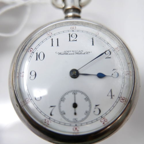1259 - A Waltham Watch Co. USA silver open face pocket watch, enamel dial with Arabic numerals, subsidiary ...