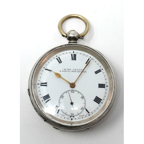 1269 - A H. Samuell 'Acme Lever' silver open faced pocket watch, enamel dial with Roman numerals, signed to...