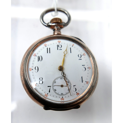 1272 - A JWC silver open face pocket watch, c.1930, the enamel dial with Arabic numerals, seconds subsidiar...