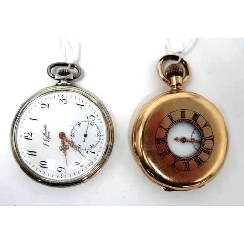 1274 - An Art Deco silver open face pocket watch by J J Badollet, Geneve, white enamel dial with Arabic num...