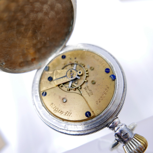 1276 - A Tavannes Watch Co. silver open face pocket watch, white enamel dial with Arabic numerals, seconds ...