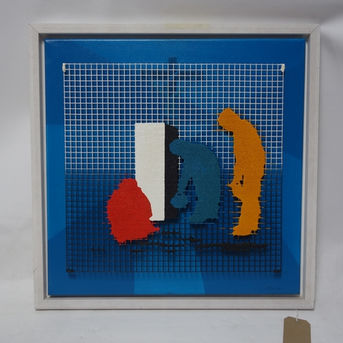 106 - Gheorghe Tincu, mixed media, resin and mesh on canvas, titled 'Offertory', 60 x 60cm...
