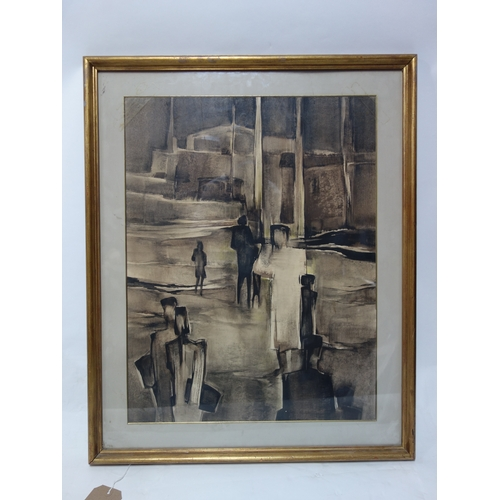 26 - A large framed watercolour in sepia hues, indistinctly signed, H.65 W.49cm...