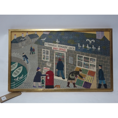 37 - Andrew Murray, oil on canvas, 'Cornish post office', 35 x 60cm, hole in canvas...
