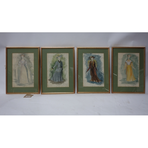 50 - Disley Jones, four original costume designs for Penelope 1953, 30 x 19cm...