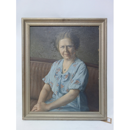 57 - A. Eifler, portrait of an elderly lady, oil on board, signed and dated 1947 to lower right, 68 x 54c...