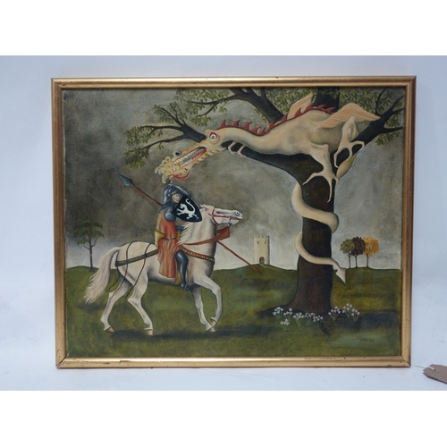 61 - Charlotte Lyon, oil on canvas, 'St George and Dragon', signed and dated '80, 39 x 50cm...