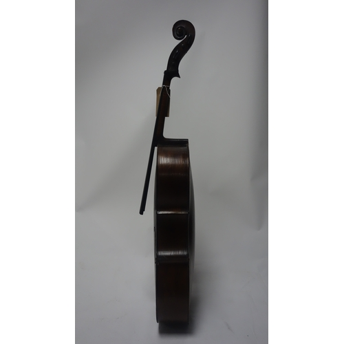 62 - An antique cello, H.124cm, missing strings, tail piece and bridge...