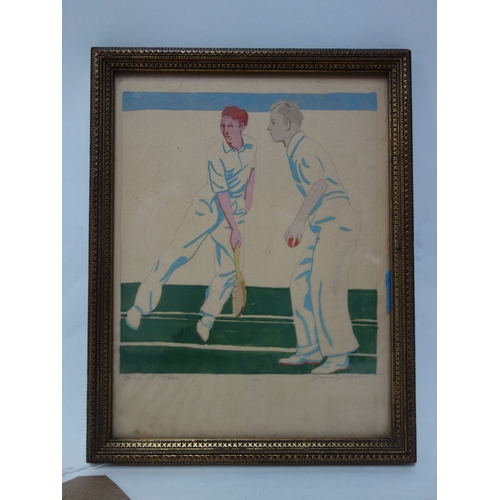 68 - Daphne Dunbar, pencil and watercolour of cricket interest, 22 x 17cm...