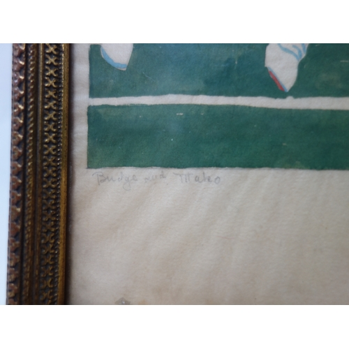 68 - Daphne Dunbar, pencil and watercolour of cricket interest, 22 x 17cm...