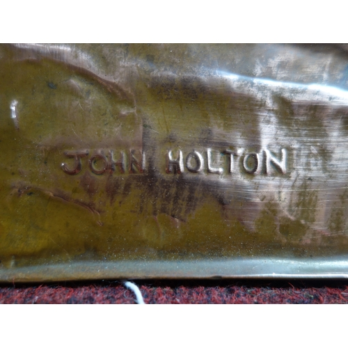 79 - John Holton, an embossed copper plaque decorated with birds and flowers, signed, 46 x 46cm...