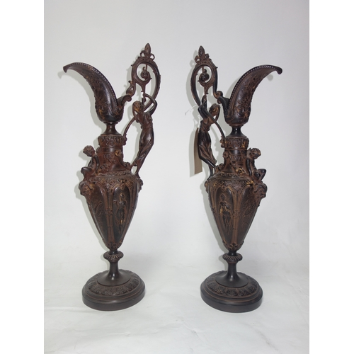 85 - A pair of 18th century style ewers, H.64cm...