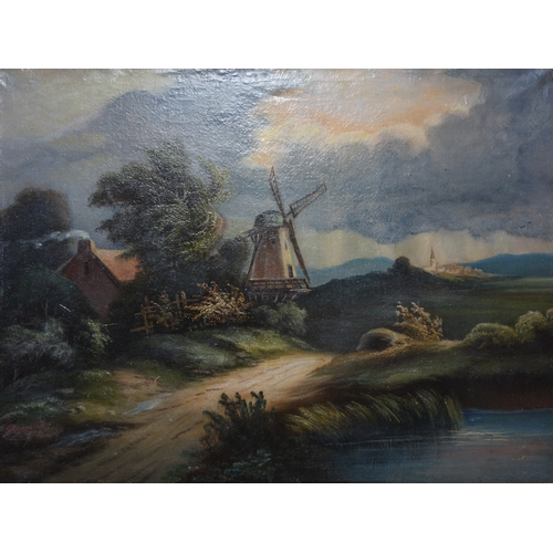 93 - 20th century Dutch school, A Windmill by a Country Path, oil on canvas, indistinctly signed lower le...