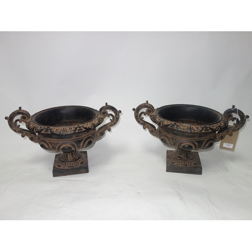113 - A pair of 18th century style urns, H.30 W.46 D.32cm...