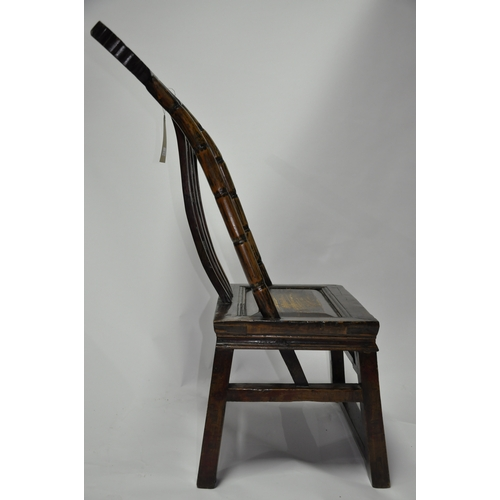 139 - An early 20th century Chinese hardwood and part lacquered chair with carved back rest, H.86 W.47 D.4...