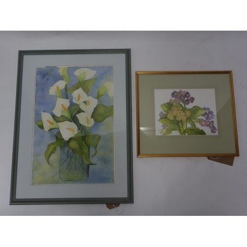 141 - A large framed and glazed watercolour of lilies indistinctly signed (H.54 W.36cm) and another simila...
